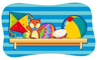 Hintergrunddesign mit Spielwaren auf Regal