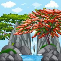 Bakgrundsscen med träd vid vattenfall