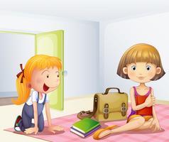 De två tjejerna inne i ett rum med böcker