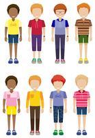 Acht gesichtslose Kinder stehen
