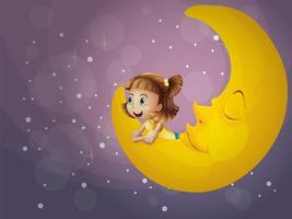 Ein Mädchen, das auf dem Mond sitzt