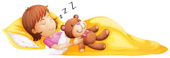 Ein junges Mädchen, das mit ihrem Spielzeug schläft vektor