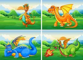 Vier Drachen im Feld