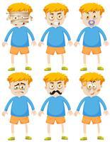 Pojke med olika ansikten och känslor
