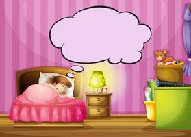 En sovande tjej och en talbubbla
