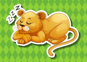 Löwenjunges, das alleine schläft vektor