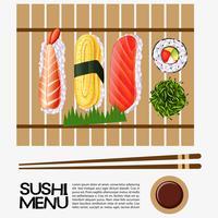 Sushimenüdesign mit Sushi auf hölzernem Behälter vektor