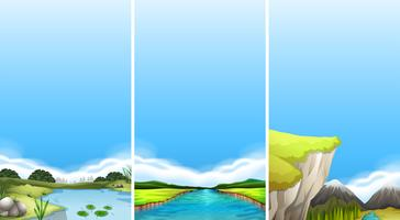 Tre olika scener av vatten