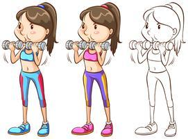 Gekritzelcharakter für die Frau, die Gewichtstraining tut