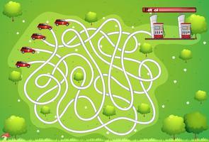 Spielvorlage mit Auto und Tankstelle