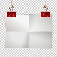 Border-Vorlage mit Papier und roten Clips vektor