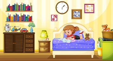 Liten tjej leker med docka i sovrummet vektor