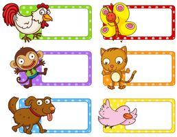 Polka dot etiketter med söta djur