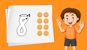 Junge mit Nummer acht Arbeitsblättern