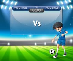 Eine Vorlage für eine Fußballspieler-Anzeigetafel vektor