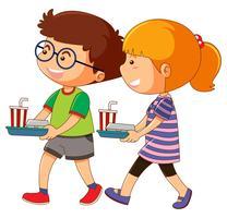 Junge und Mädchen, die Essenstablett halten vektor
