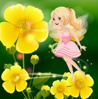 Gullig fe i rosa klänning som flyger i blomsterträdgård