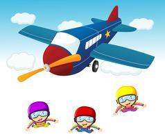 Drei Himmelstaucher, die das Flugzeug herausspringen