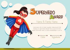 Certifikatdesign med superhjältebakgrund vektor