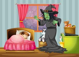 En häxa tittar på tjejen som sover inne i rummet