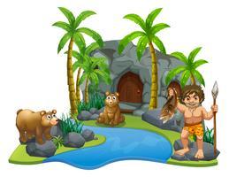 Caveman och två björnar vid floden