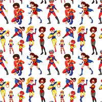 Nahtlose männliche und weibliche Superhelden vektor