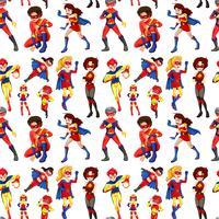 Sömlösa manliga och kvinnliga superhjältar vektor