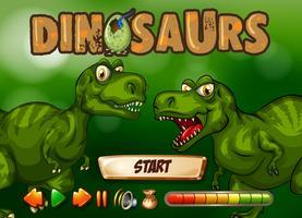 Spielvorlage mit T-Rex im Hintergrund vektor