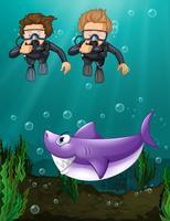 Två dykare tittar på haj under vattnet vektor