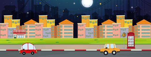 Bakgrundsscen med byggnader och bilar i staden
