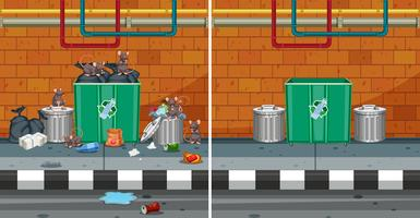 Före och efter rengöring av gatan