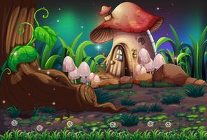 Ein dunkler Wald und ein Pilzhaus vektor