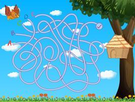 Spielschablone mit der Eule, die zum Vogelhaus fliegt
