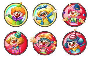 Clownfiguren auf runden Abzeichen