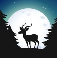 Silhouette Wald und Hirsch in der Nacht