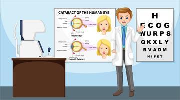 Augenarzt, der in der Klinik steht vektor