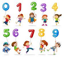 Kinder und Luftballons eins bis neun