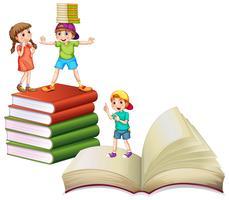 Kinder und große Bücher vektor