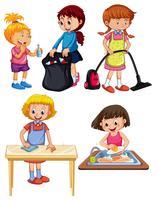 Kinder, die Hausarbeit auf weißem Hintergrund tun vektor