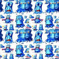 Nahtloses blaues Monster, das Tätigkeiten tut