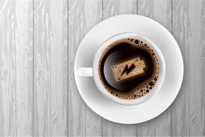 Kopp kaffe med batteri energi på skum. Realistisk vektor illustration