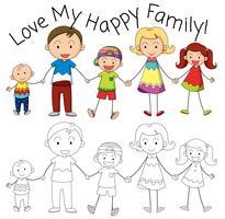 Doodle familjemedlem karaktär vektor