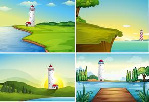 Fyra naturscener med fyr vid havet