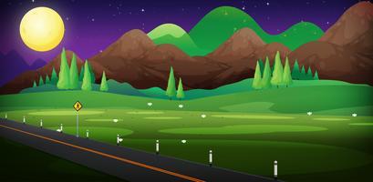 Bakgrundsscen med väg och fält på natten