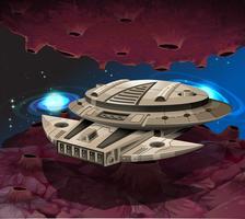 Rundes Raumschiff in der Galaxie fliegen vektor