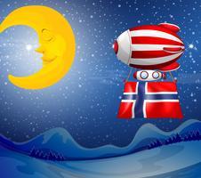 En flytande ballong med flaggan av Norge