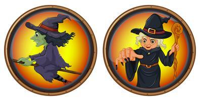 Hexen auf runden Abzeichen vektor