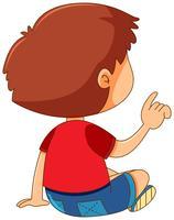 Bakom pojken pekar på fingret vektor