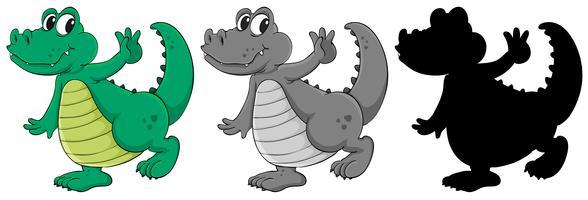 Sats med krokodil karaktär vektor