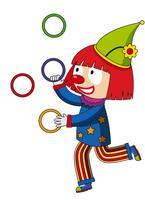 Lyckliga clown jonglering ringar vektor